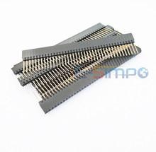5 pces 2.54mm pc104 encabeçamento fêmea 1*40 pinos único empilhável escudo fêmea rohs encabeçamento banhado a ouro ph8.5 + 2.5mm