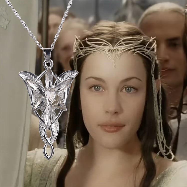 Der Herr des Hobbits Silber lange Arwen Evenstar Anhänger Halskette für Männer Frauen Kleid Kragen männlich weiblich Vintage sieben Kristall