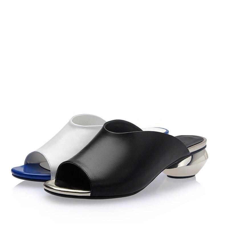 42 Peep noir Bout D'été Blanc White 33 Femmes Rond Asumer En Dames Cuir Véritable Bas Chaussures Occasionnels Sandales Plus Nouveau Talons Taille tqnn1PS4F
