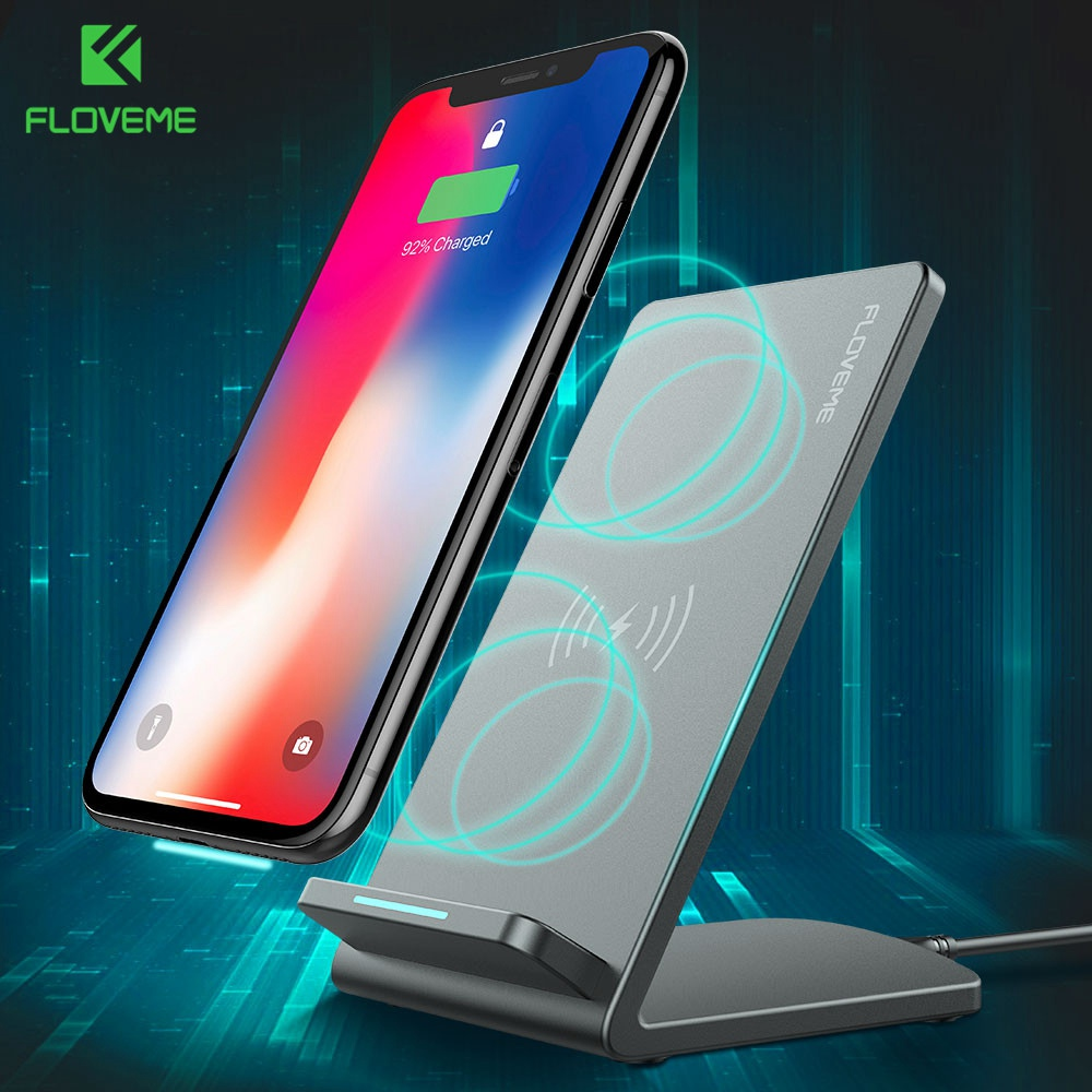 FLOVEME Qi Wireless Stand Charger For iPhone X 10 8 Plus Fast Chargers Desktop Dock For Samsung Galaxy S9 S8 Plus S7 Edge Note 8