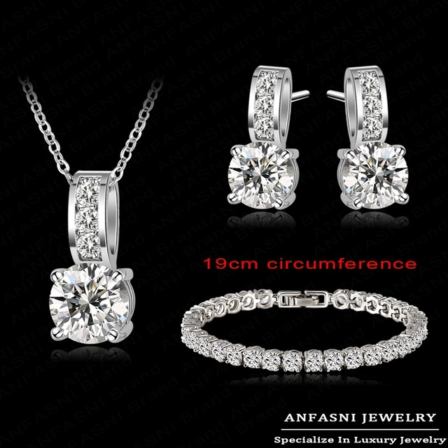 Big Promotion Wedding Jewelry Set Color AAA Zirconia Earring/Necklace/Bracelet Set For Bracelet CST0025