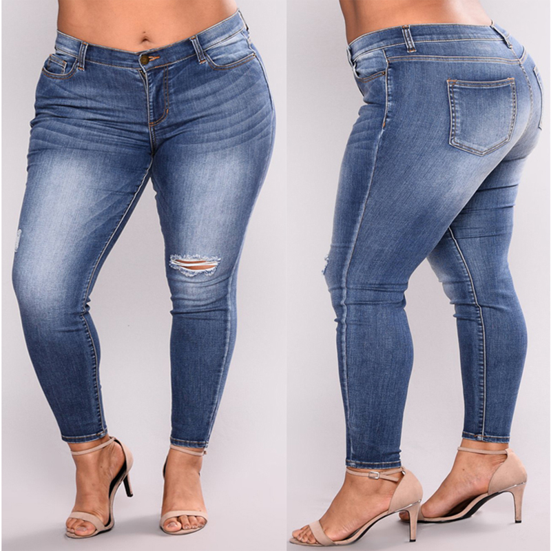 PLUS SIZE   Jeans   Women High Waist Skinny Pencil Blue Denim Pants women ripped hole washed   Jeans   women 4XL 5XL 6XL 7XL big hip