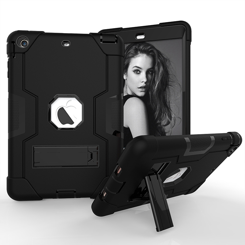 Silicone Holder Case for iPad Mini 1 2 3 Fashion Shockproof 360 Full Protector Stand Cover Armor Defender Hard Shield