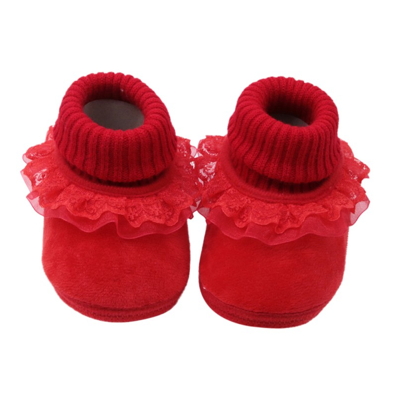 Girls Shoes Newborn Boots First-Walkers Anti-Slip Autumn Winter 0-18 Cute Lace Gifts