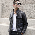 FREE SHIPPING 2017 New Men Genuine Leather Motorcycle Jacket Black Stand Collar Short Slim Fit Real Sheepskin Men Casual Coat