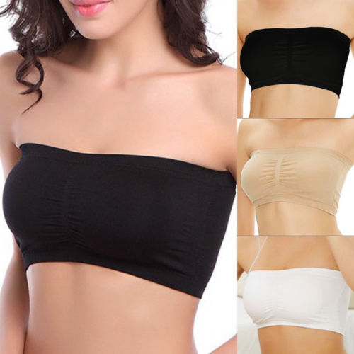 eef1ff2ef1d072 Women Cotton Strapless Bra Bandeau Tube Tops Removable Pads Seamless Crop  Intimates New tshirt