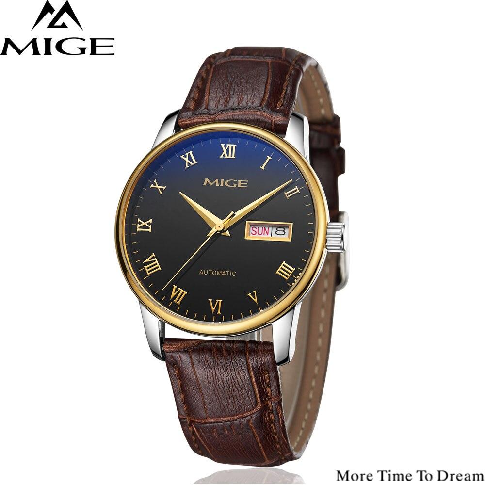 где купить MIGE Watch Men Mechanical Wristwatch Calendar Synthetic Sapphire Crystal Water Resistant Cowhide Leather Strap Relogio Masculino по лучшей цене
