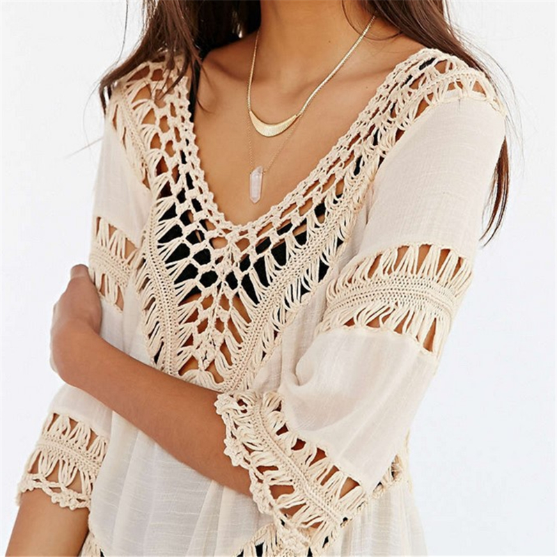 Sleeve Cover Up Bikini Bathing Suit Swim Cover Ups Beachwear Women Swimsuit Robe De Plage Crochet White Pareo Tunic Beach Dress