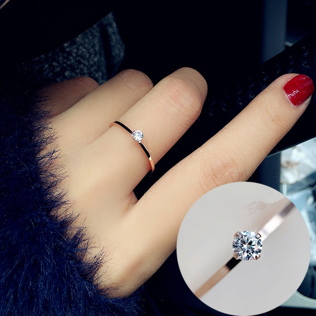 Fine Jewelry Titanuim Steel Rose Gold Color Ring CZ Crystal Ring For Women Couple Finger Rings love Wedding  Size3-9 R101 2