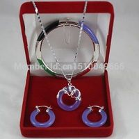 Hot sale FREE SHIP>>>>New Listed!Natural jade Bangle Bracelet Pendant Earring STONEJewelry Set