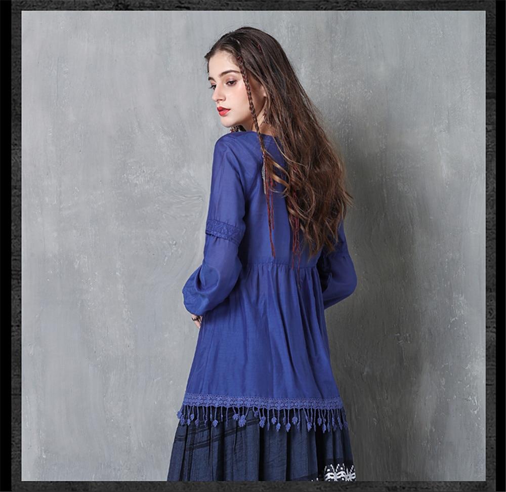 Vintage Women Slik Tassel Blouse 2019 Autumn Silk Women's Blouse Shirts Cotton Pullover Blouses Solid Dark Blue Top B9225 (12)