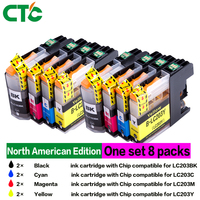 8 pcs LCL LC203XL LC201XL LC203 LC201 LC203BK LC201BK(4 pack) Black ink Cartridge Compatible for Brother MFC J4320DW/J4420DW