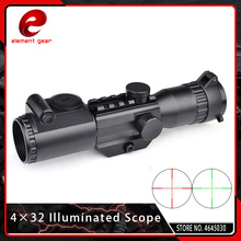 Element Airsoft Tactical 4X32 Riflescopes Optics Hunting Red Green Illuminated Scope with QD Mount 19.5CM Length