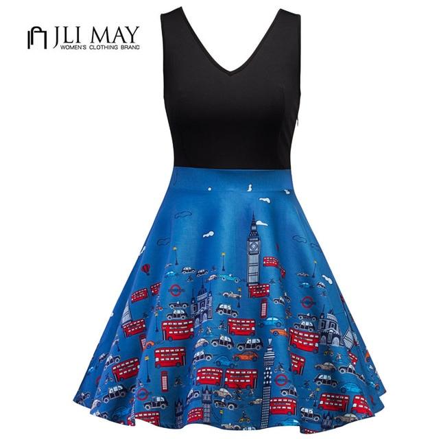 JLI MAY Vintage sundress dress Unique print Sleeveless deep V office womens  clothing Summer 50s style 58ce67bb3572