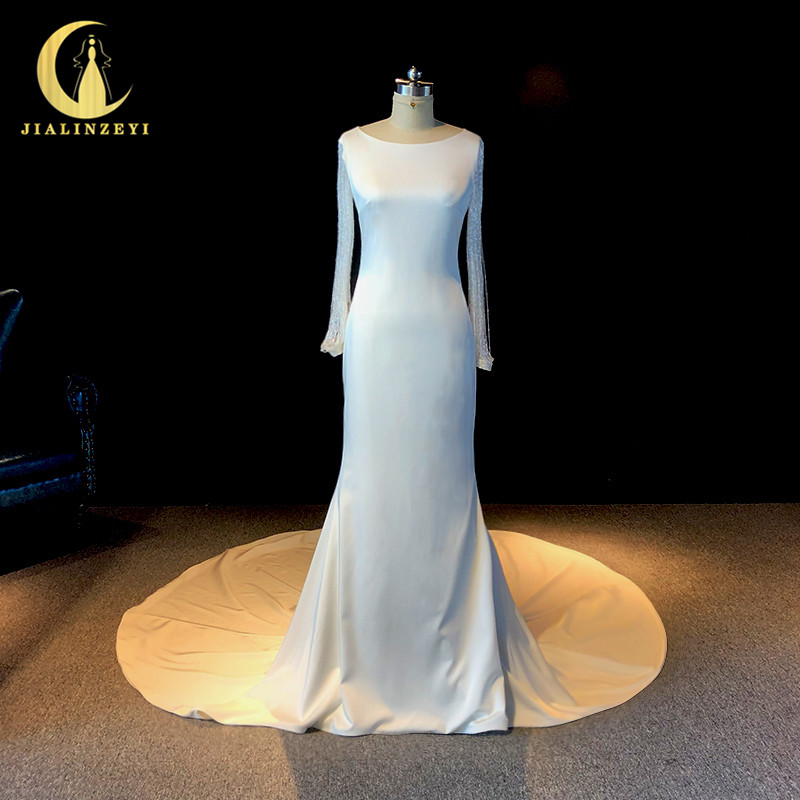 Satin Mermaid Wedding Gown: JIALINZEYI Real Picture Luxurious Long Sleeves Beads Satin