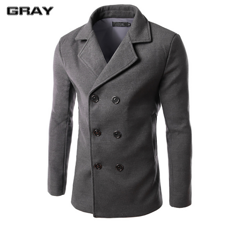 2017 New Mens Coat Spring Fashion Slim Type Double Breasted Wool ...