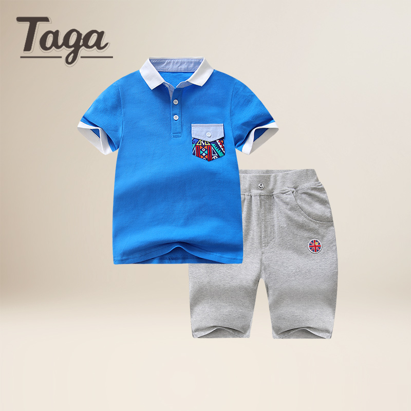 TAGA Baby Boys Kids Polo Shirt Tops 2017 Fashion British Boy Summer Clothing Set T Shirt+Pants Children Boys Clothes Sets cotton