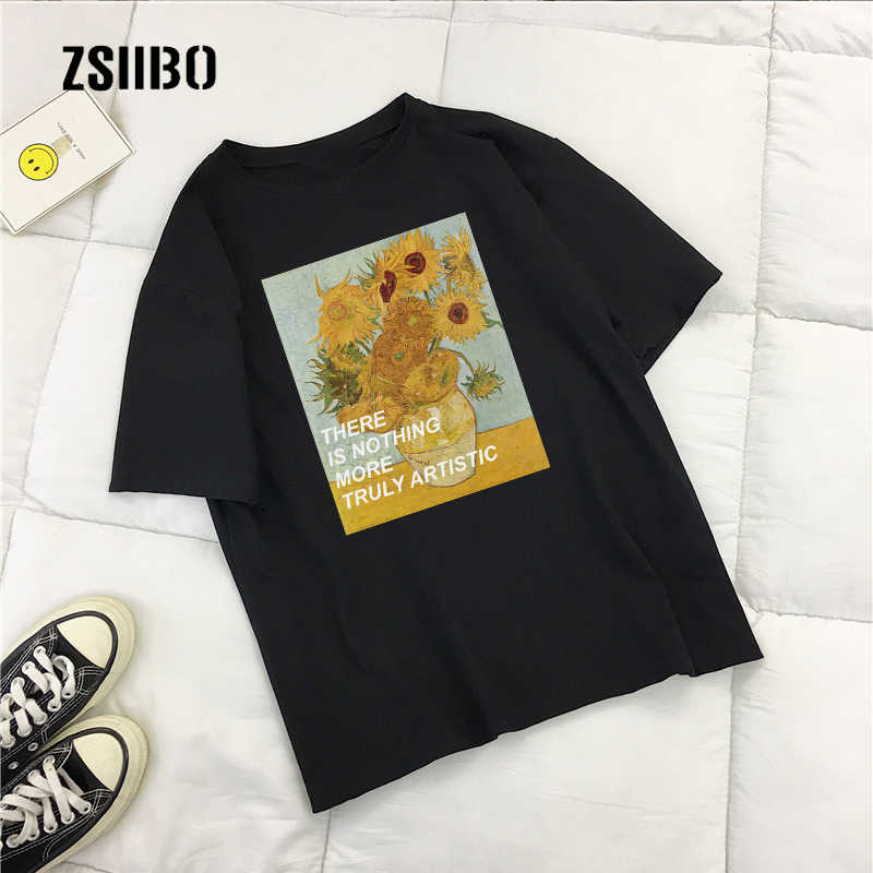 Summer Preppy new Van Gogh Vintage art fashion casual shirt loose women Ulzzang short-sleeved letter art print O-neck tops