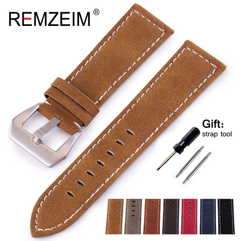 REMZEIM New Watchband Belt Black Brown Watchbands Genuine Leather Strap Watch Band 18mm 20mm 22mm 24mm Watch Accessories