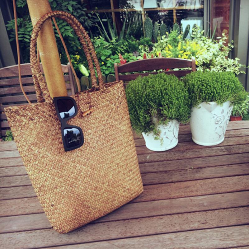 FGGS-Women Handbag Summer Beach Bag Rattan Woven Handmade Knitted Straw Large Capacity Totes Women Shoulder Bag Bohemia New 5