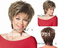 Women Nice brown with Golden Blonde mixed lady Straight Short synthetic hair wigs Free Shipping