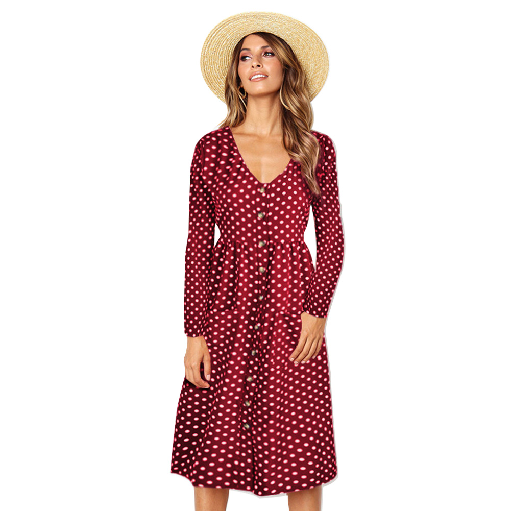 Fashion Women Party Midi V Neck Button Spring Autumn Casual Dress Polka Dot Long Sleeve Dress With Pockets Vestidos #3