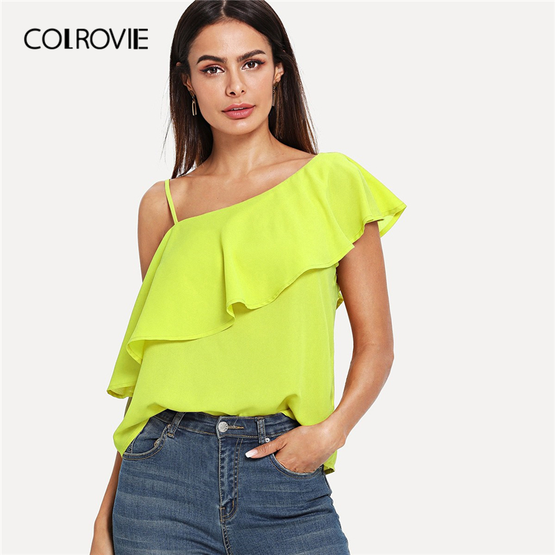 COLROVIE Neon Yellow Asymmetrical Neck Elegant   Blouse     Shirts   Women 2019 Spring Short Sleeve Ruffle Boho Lady Tops Female   Blouses
