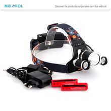 Free Shipping 5000 Lumen XM-L T6 +2R5 LED rechargeable Headlamp Head Light Torch lamp 18650+AC/Car Charger