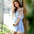 Original 2016 Brand Vestidos De Fiesta Cortos Big Size Slim Sweet Casual Puff Sleeve V Neck Flowers Summer Women Dress Wholesale