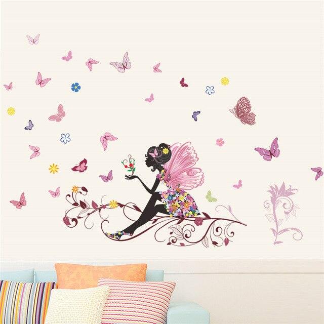 % Papillon fleur fée Stickers muraux pour enfants chambre décoration murale chambre salon enfants filles chambre décalque affiche murale