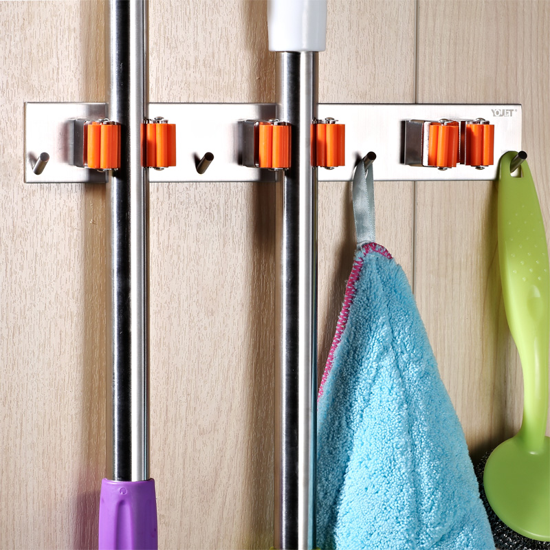 Wall Mounted Mop and Broom Holder, 304 stainless steel Wall Mounted Mop Broom hanger Hook,Garage Shed Organizer And Sports Equip