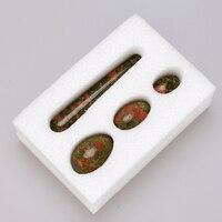 Crystal Massage Wand Yoni Egg Set Drilled Jade Eggs Natural Unakite 10cm Pleasure Sticks Yoni Massager