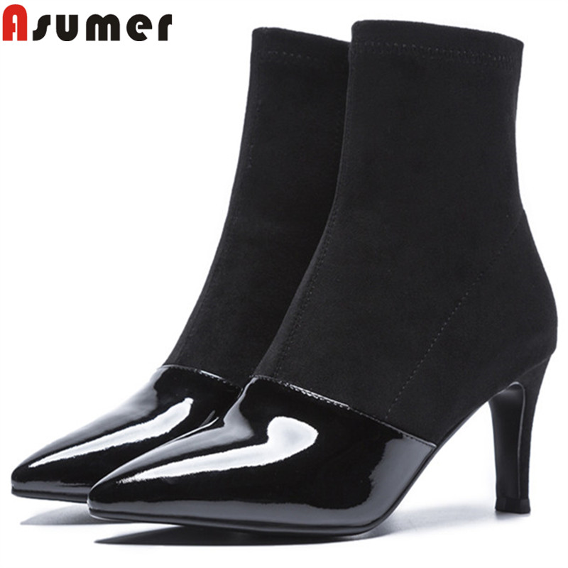 ASUMER black fashion ankle boots for women pointed toe zip stretch fabric+cow patent leather boots thin high heels ladies boots size 34 39 advanced pu leather ankle pointed toe zip thin high heels boots for women black white red new fashion boots