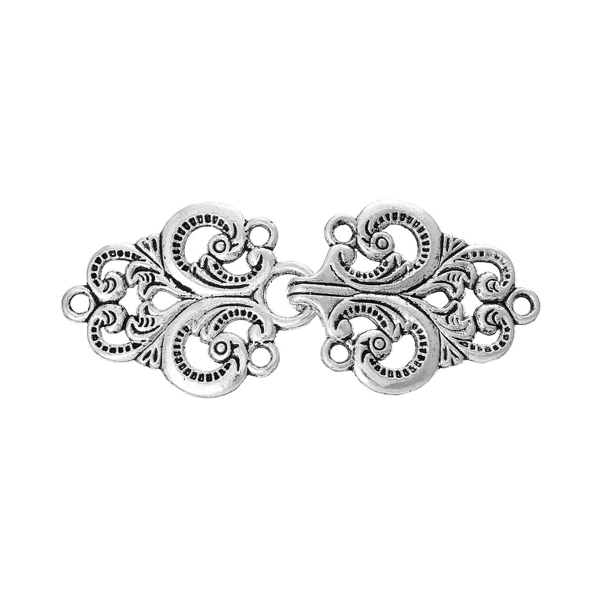 DoreenBeads Zinc Metal Alloy Toggle Clasps Rhombus Antique Silver Pattern Pattern 6.7cm X2.8cm(2 5/8