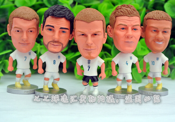 7pcs/set KODOTO 2014 world cup England ENG national team Football Soccer Player star dolls toys GERRARD LAMPARD ROONEY BECKHAM fifa world cup 2014 brazil adrenalyn xl javier hernandez star player