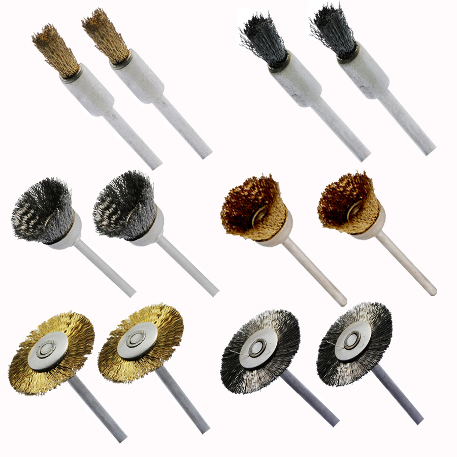 100pcs Steel and Brass Wire brush for Dremel Tools Dremel wire brush use for dremel accessories with 3.0mm shank rotary tools 16pc brass bristle wheel brushes for dremel accessories for rotary tools