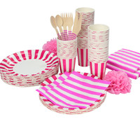 Lovely Stripe Party Tableware Birthday Party paper plate cups napkins paper straw Cutlery Set