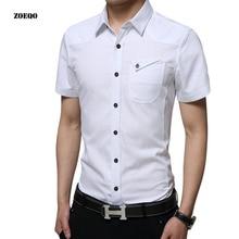 Новые Брендовые мужские рубашки в стиле кэжуал с коротким рукавом мужская рубашка, хлопок, Повседневная приталенная Мужская рубашка Chemise Homme M-5XL