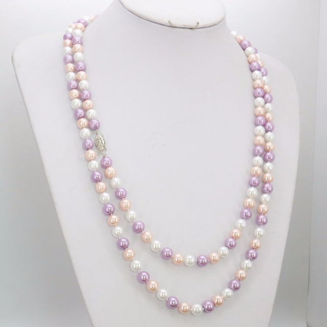 New 7-8mm White Pink Purple Freshwater Pearls Shell Necklace Beads Fashion Jewelry Making Design 50inch Wholesale Supply