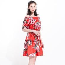 Chic women's off shoulder dress 2019 summer runays floral print sweet dress A312 off shoulder random floral print dress in pink