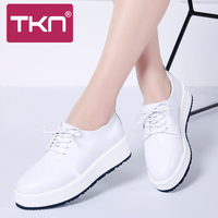 TKN 2019 Spring Women Flats Shoes Genuine Leather Sneakers Oxfords Shoes for Women Lace Up Flats Creepers Platform Shoes 888