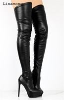 Черные кожаные высокие сапоги выше колена на молнии, женские высокие сапоги до бедра, женские зимние высокие сапоги до бедра