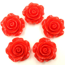 30Pcs DIY Resin Red Flower Fleur  Spacer Beads Dome Seals Cameos Jewelry Crafts Making 28x27mm