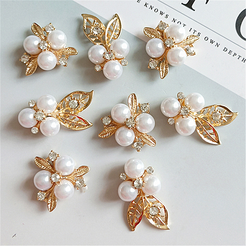 10 Pcs/lot Alloy Creative Gold Pearls Rhinestone Buttons Ornaments Earrings Choker Hair DIY Jewelry Accessories Handmade