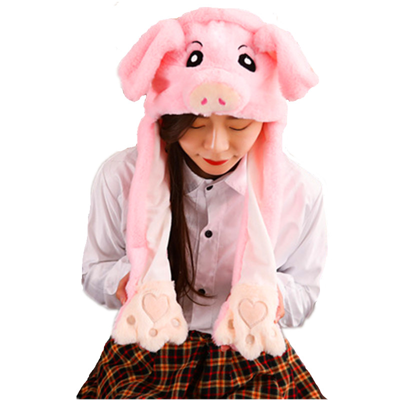 Pig white Cartoon Animal Plush Dynamic Hat Children's Winter Warm Cap Combined Scarf and Glove