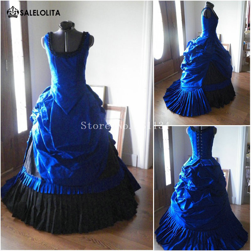 Edwardian Era Masquerade Ball Gown Historically Blue Dress Gothic Victorian  Queen Dress Holiday Carnivale Theater Stage 45ac632b08ce