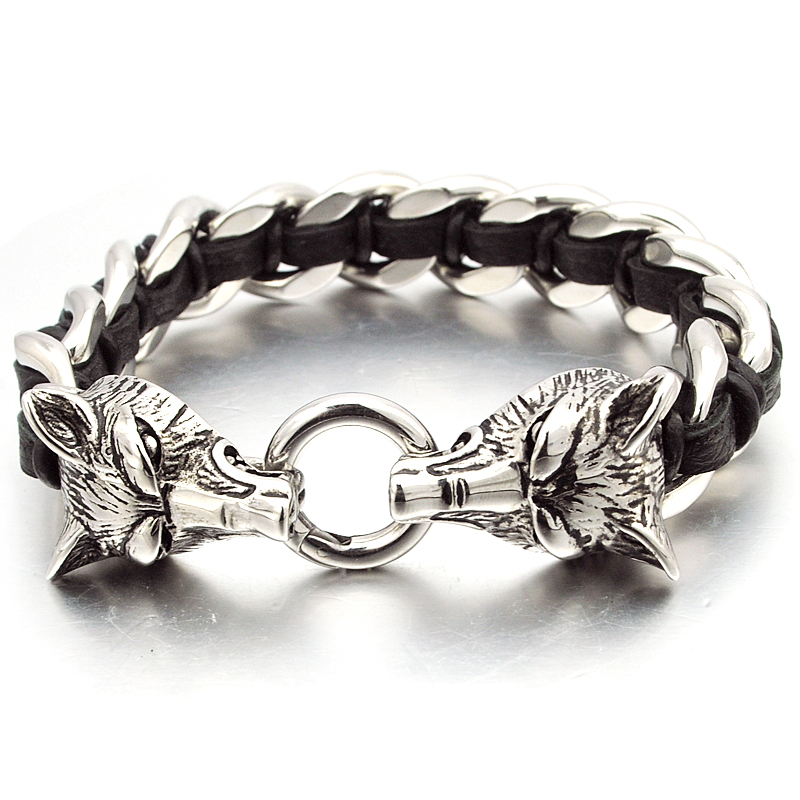 NIENDO Promotion Double Wolf Head Animal Silver Color Bracelet High Quality Stainless Steel Men Jewelry Party Gift DB971