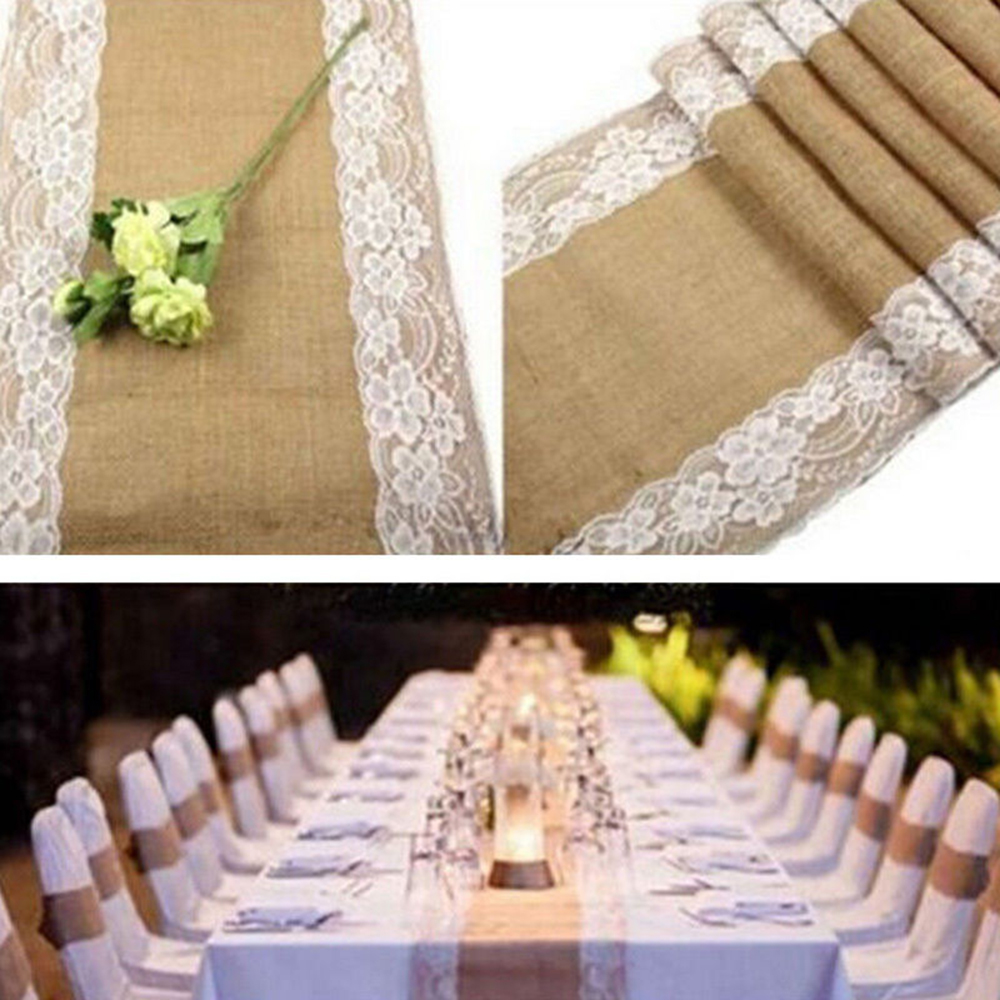 30X275CM Vintage Buelap Ribbon Lace Rustic Party Decoration Table Runner for Christmas Wedding Home Decor