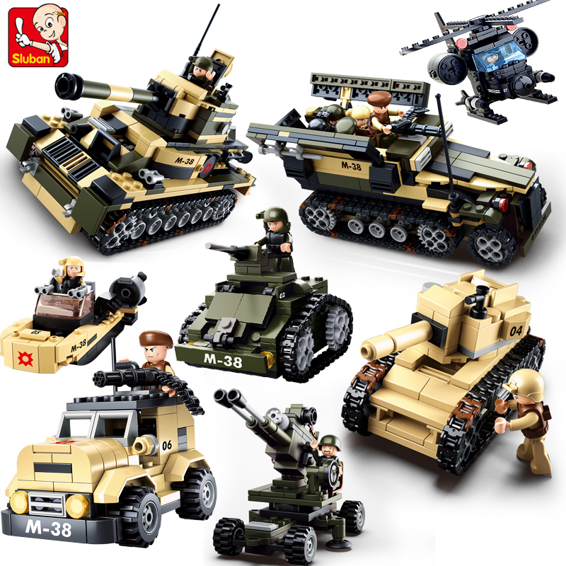 Sluban DIY eductional 8 in 1 Building Blocks Sets Military Army Tank children Kids Toys Christmas Gifts compatible with legoe sluban military series nuclear submarine and service stations model building blocks toys for children compatible with legoe sets