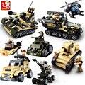 Sluban diy 8 en 1 bloques huecos de eductional tanque militar del ejército niños juguetes para niños regalos de navidad compatible con legoe